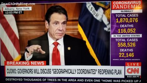 Governor Andrew Cuomo giving his daily Corona virus briefing on CNN