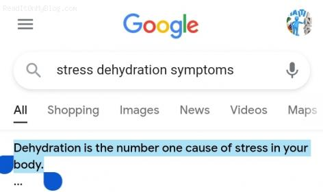 She is so right, dehydration is the number one cause of stress in your body