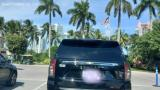 Take a look at Miami Beach across the palm trees of Fisher Island Florida. Waiting to get on the ferry