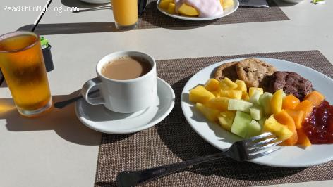 My friend and I are enjoying a super delicious breakfast at the Hotel Riu Plaza Hotel in Miami Beach