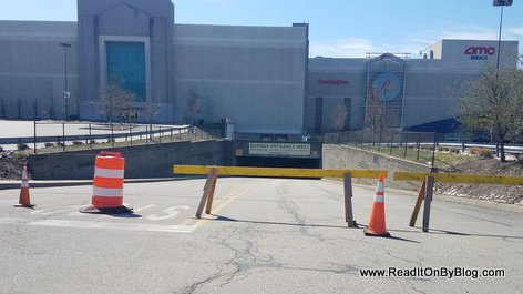 The lower parking lot at the Palisades Mall is closed off amid coronavirus pandemic
