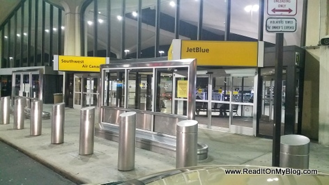 Empty JetBlue departure terminal at Newark International Airport during coronavirus pandemic
