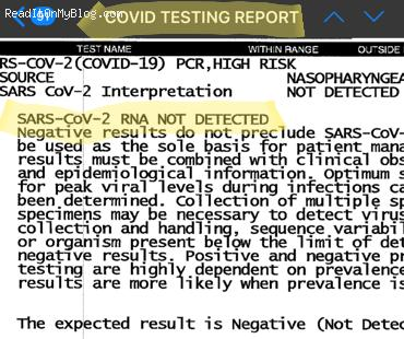 Happiness is when you test negative for the coronavirus COVID-19