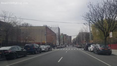 Driving through The Bronx New York during COVID-19 outbreak, the road is empty
